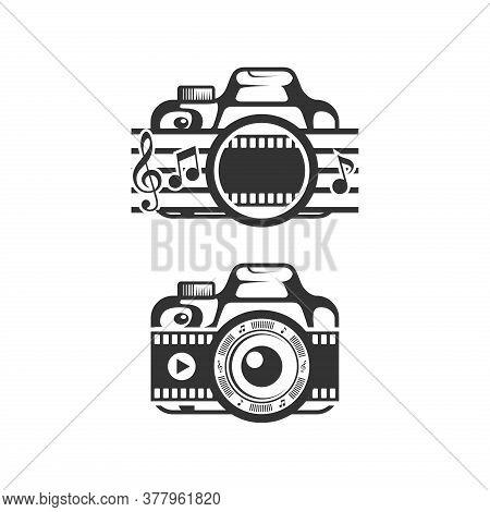 Video Music Camera, Camera Vector, Camera Lens Logo, Camera Logo, Camera App Logo. Camera Illustrati