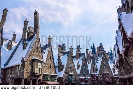 Orlando, Florida, Usa - May 09, 2018: The Old Houses At Wizarding World Of Harry Potter In Islands O