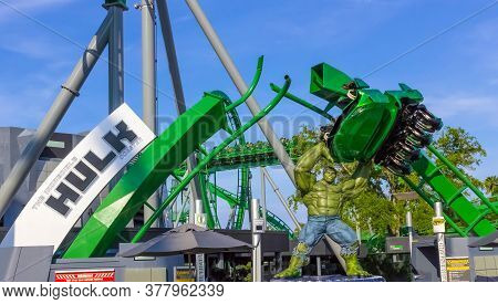 Orlando, Florida, Usa - May 10, 2018: Incredible Hulk Coaster In Adventure Island Of Universal Studi