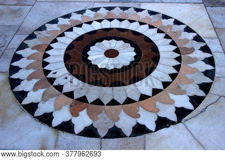 View Of Circular Geometric Marble Flooring Design At Birla Sun Temple In Gwalior, Madhya Pradesh, In