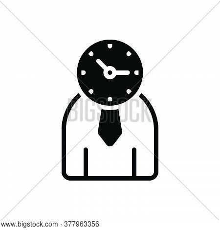 Black Solid Icon For Time-management Management Monograph Manage Controler Time Organization Person