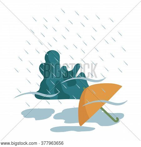 Illustration Of A Yellow Umbrella In The Rain. The Image Shows A Weather Phenomenon With An Umbrella