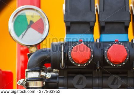 Operating Control Buttons Or Knobs In Agricultural Or Industrial Machine