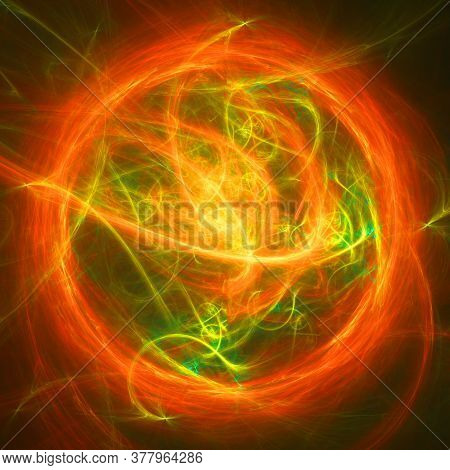 Neon Glowing Green And Red Twisted Cosmic Lines Flying In The Space. Turbulence Curls Flow Colorful