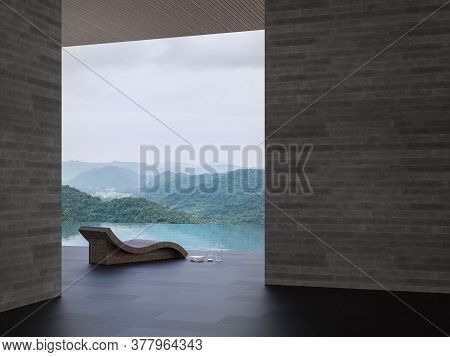 Minimal Loft Style Swimming Pool Terrace With Mountain View 3d Render,there Are Black Tile,concrete