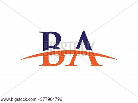 Ba Logo Design Purple Swoosh. Vector Ba Logo For Business And Company Identity