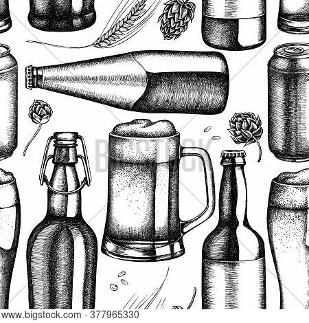 Seamless Pattern With Black And White Rye, Hop, Mug Of Beer, Bottles Of Beer, Aluminum Can Stock Ill