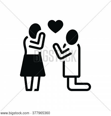 Black Solid Icon For Purpose Love People Engaged Couple Together Romance Romantic Duet