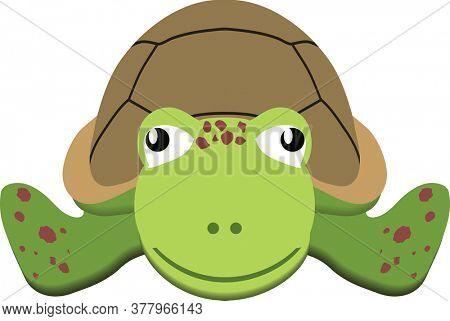 Sea Turtle Flat Art Illustration