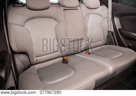 Novosibirsk/ Russia - July 18 2020: Hyundai Ix35, Comfort Car Inside. Clean Car Interior: Beige Back