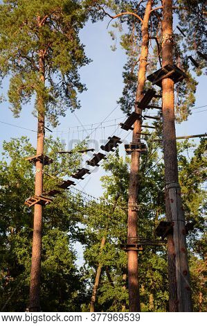 Obstacle Course High In The Trees In The Rope Park