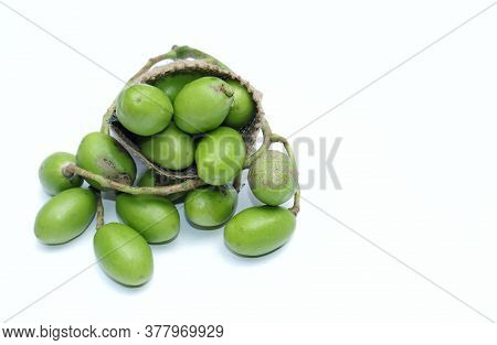 Hog Plum Or Spondias Mombin In A Jute Sack Isolated On White Background With Copy Space