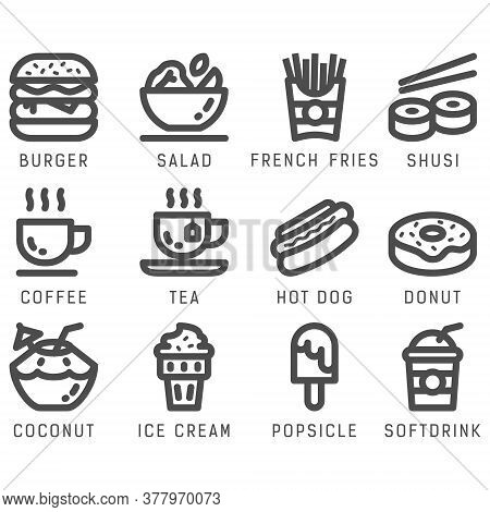 Food And Drink Icon Set With Line Style In Isolated White Background. Food And Drink Vector Icon Set