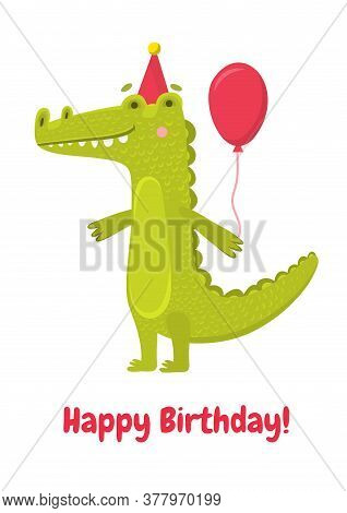 Funny Green Vector Crocodile With Pink Ball In Pink Cap. Cute Illustration For Greeting Card Or Part