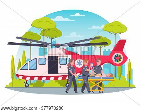 Paramedic First Aid Cartoon Concept With Helicopter Ambulance Vector Illustration