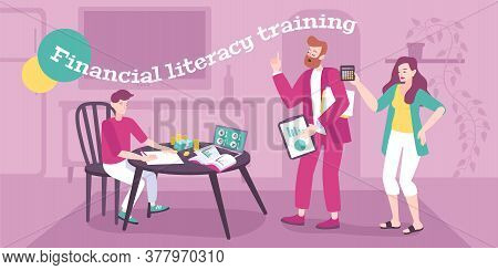 Parenting Flat Background With Adult Couple Teaching Their Son  Financial Literacy For Successful Ca