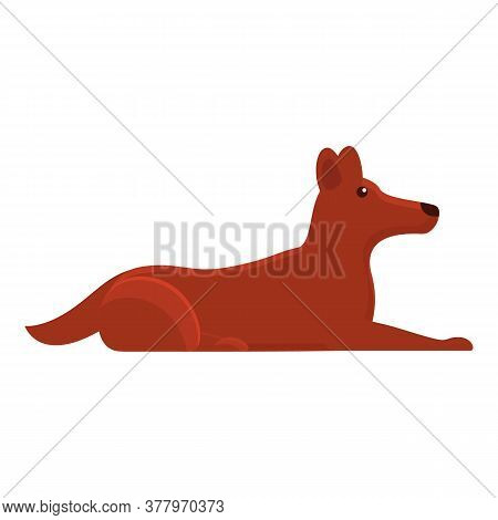 Dog Lies Icon. Cartoon Of Dog Lies Vector Icon For Web Design Isolated On White Background