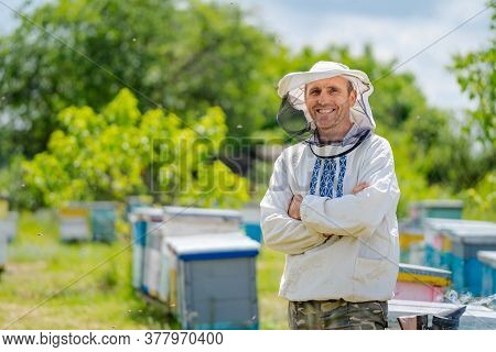 The Beekeeper Stands Crosshands Near Apiary. Apiculture. Apiary.