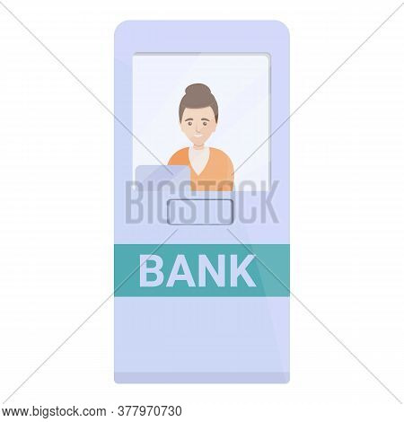 Bank Teller Cabine Icon. Cartoon Of Bank Teller Cabine Vector Icon For Web Design Isolated On White