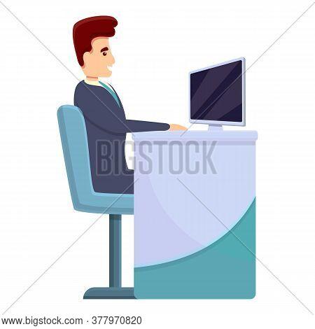 Work Place Bank Teller Icon. Cartoon Of Work Place Bank Teller Vector Icon For Web Design Isolated O