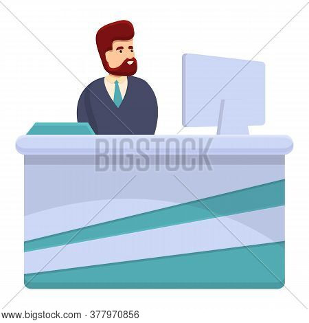 Serious Bank Teller Icon. Cartoon Of Serious Bank Teller Vector Icon For Web Design Isolated On Whit