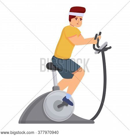 Race Exercise Bike Icon. Cartoon Of Race Exercise Bike Vector Icon For Web Design Isolated On White