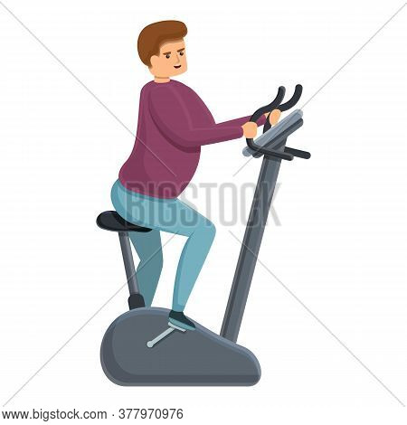 Fat Man Exercise Bike Icon. Cartoon Of Fat Man Exercise Bike Vector Icon For Web Design Isolated On