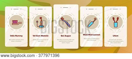 Toothbrush Equipment Onboarding Mobile App Page Screen Vector. Classical And Electronic Toothbrush D