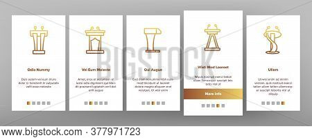 Podium Speaker Tool Onboarding Mobile App Page Screen Vector. Podium With Microphone For Debates, Tr