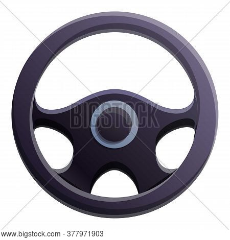 Steering Wheel Icon. Cartoon Of Steering Wheel Vector Icon For Web Design Isolated On White Backgrou