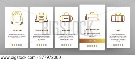 Gym Bag Accessory Onboarding Mobile App Page Screen Vector. Gym Bag For Sportive Suit And Shoes, Han