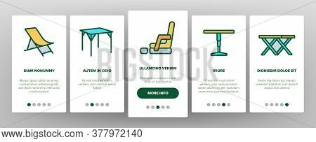 Folding Furniture Onboarding Mobile App Page Screen Vector. Table And Chair, Lounge And Armchair Com
