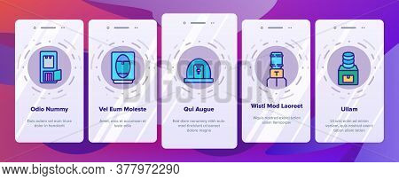 Dispenser Water Tool Onboarding Mobile App Page Screen Vector. Dispenser Water Electronic Equipment