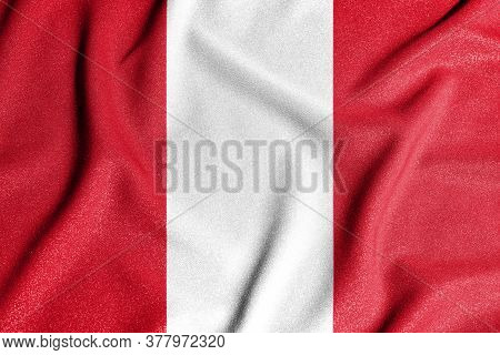 National Flag Of The Peru. The Main Symbol Of An Independent Country. An Attribute Of The Large Size