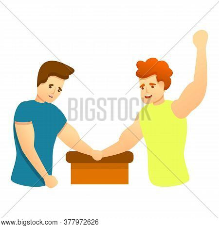 Winning Arm Wrestling Icon. Cartoon Of Winning Arm Wrestling Vector Icon For Web Design Isolated On