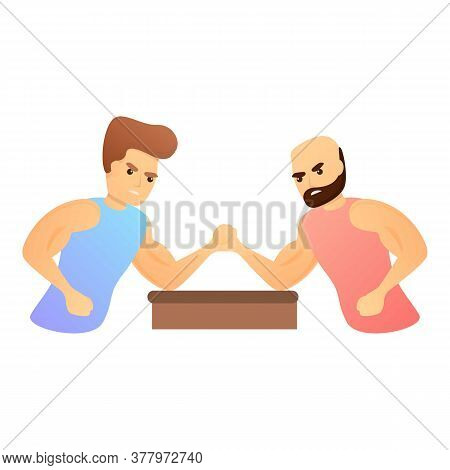 Sport Arm Wrestling Icon. Cartoon Of Sport Arm Wrestling Vector Icon For Web Design Isolated On Whit