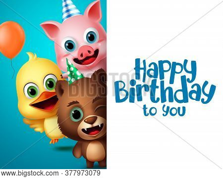 Birthday Animals Character Vector Background Template. Happy Birthday Greeting Text In White Empty S