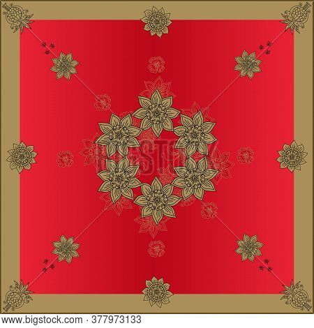 Beautiful Bandana Print With Flowers In Gold And Red Colors. Square Design For Scarf, Shawl, Napkin,