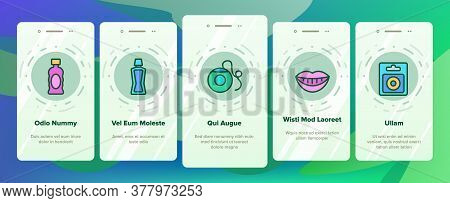 Mouth Wash Hygiene Onboarding Mobile App Page Screen Vector. Mouth Wash Liquid Bottle And Toothpaste