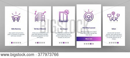 City Noise And Sounds Onboarding Mobile App Page Screen Vector. Rattle Of Train Wheels And Car Signa