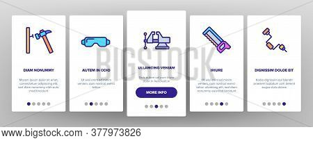 Carpenter Equipment Onboarding Mobile App Page Screen Vector. Protect Glasses And Saw, Drill And Ham