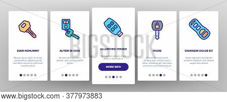 Car Key Equipment Onboarding Mobile App Page Screen Vector. Car Key Device Different Style, With But