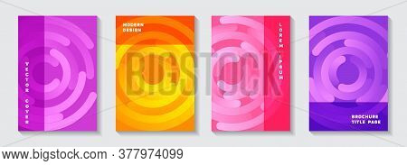 Corporate Publication Covers Design. Tech Newsletter Circles Spiral Motion Vector Backgrounds. Aim G