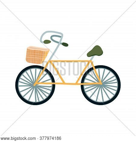 Vector Illustration Of A Yellow Pleasure Bike With A Wicker Basket. Eco-friendly Transport, Vehicle,
