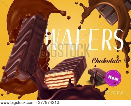 New Wafer Bars With Dark Chocolate Topping Realistic Advertisement Vector Illustration