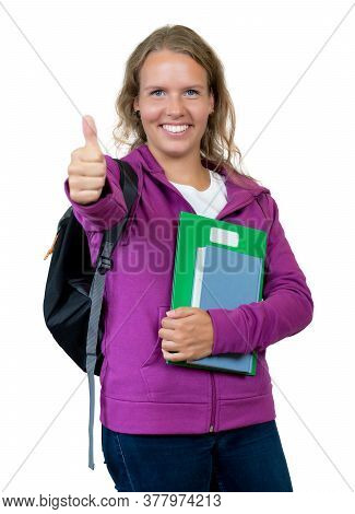 German Female Student With Blond Hair Showing Thumb Up Isolated On White Background For Cut Out