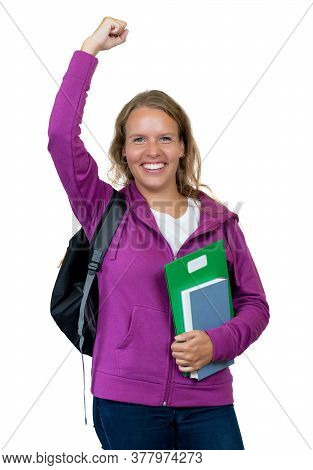 Cheering German Female Student With Blond Hair Isolated On White Background For Cut Out