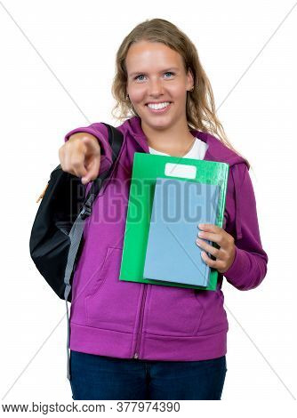 Beautiful German Female Student With Blond Hair Isolated On White Background For Cut Out