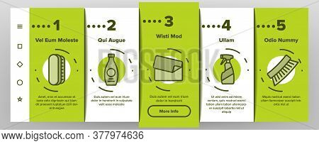 Shoe Shine Service Onboarding Mobile App Page Screen Vector. Brush And Cream, Electronic Heater And