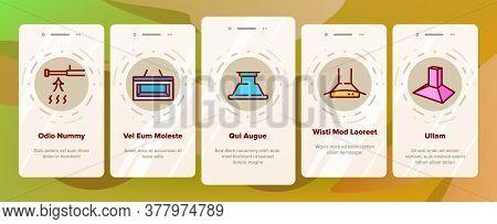Range Hood Device Onboarding Mobile App Page Screen Vector. Cooker Range Hood Kitchen Equipment In D